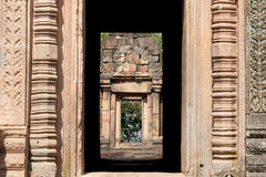 Door frame at Phanom Rung temple in Burirum Thailand Stock Images