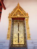 Door frame of temple at Nonthaburi Thailand. Stock Photo