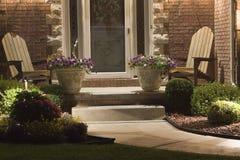 door front lighted porch Στοκ Φωτογραφίες
