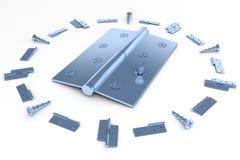 Door Furniture. Matte nickel hinge for doors, windows, etc.                  3D render Stock Photos