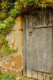 Door into the garden into Medieval castle Royalty Free Stock Images