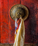 Door gate handle of Thiksey gompa Tibetan Buddhist monastery Royalty Free Stock Images