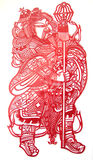 Door god. Chinese engraved paper art,have several centuries-old tradition,zhejiang china Royalty Free Stock Image