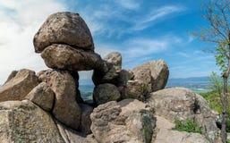 The Door of the Goddess - an ancient Thracian stone sanctuary near Kazanlak in Bulgaria stock photos