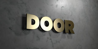 Door - Gold sign mounted on glossy marble wall  - 3D rendered royalty free stock illustration Stock Photo