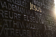 Door of the Gospel of John. Barcelona, Spain - November 18, 2016: Jesus name written on the main door of the Passion facade of The Temple of the Sagrada Familia Stock Photo