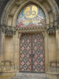 Door of the Gothic cathedral in Prague Royalty Free Stock Photography
