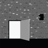 Door on gray brick wall illustration. Eps10 Stock Image
