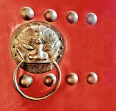 Door Handle with Chinese Lion Head Shape Stock Image
