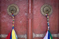 Door handle of gate door of Tibetan Buddhist monastery. Ladakh, India Stock Photography