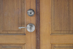 Door handle and keyhole Royalty Free Stock Images