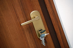 Door handle with keys Stock Photos