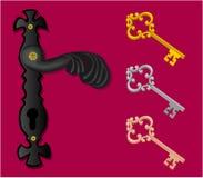 Door handle with keys. Decorated door handle with three different keys stock illustration
