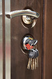 Door handle and keys in keyhole Royalty Free Stock Photo