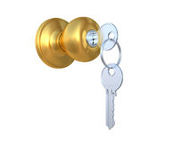 The door handle with the lock and a key Royalty Free Stock Images