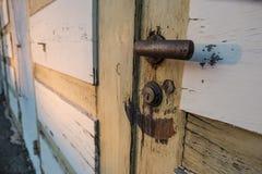 Door handle and lock with rust Stock Photos
