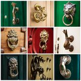 The door handle in the Maltese house.  stock photo