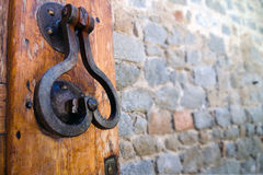 Door Handle. On an medieval door. Selective focus Stock Image