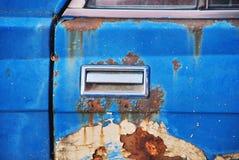 Door handle of old car. Door handle of blue old car Stock Photography