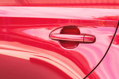 Door handle of red car Royalty Free Stock Photography