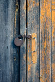 The door with handle and rusty padlock Stock Image