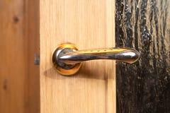 Door Handle on wooden doors Stock Photo