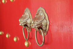 Door handles at Chinese temple. In Pattaya, Chonburi province, Thailand Royalty Free Stock Image