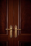 Door handles on a closed vintage look door. Royalty Free Stock Photo