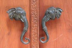 Door Handles Elephant Head Sculpture. Royalty Free Stock Photos