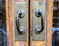 Door handles. On the entrance to a private residence Stock Images