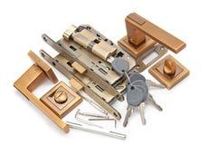 Door handles, locks and keys Royalty Free Stock Photo