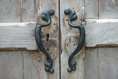 Door handles of old wooden.  stock photo