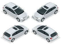 3-door Hatchback car isolated. Vector isometric icons set. Car vector template on white background. The ability to Stock Image