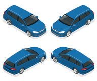 5-door Hatchback car isolated. Vector isometric icons set. Template on white background. The ability to easily change Royalty Free Stock Photo