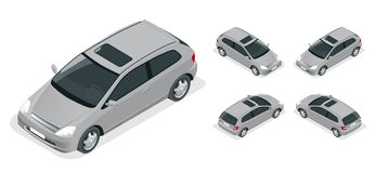 3-door Hatchback car . Vector isometric icons set. Stock Photo