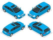 3-door Hatchback car . Vector isometric icons set.  Royalty Free Stock Photos