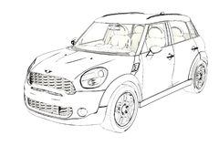 5 Door hatchback Mini Cooper Sketch. 3D Illustration. stock photo