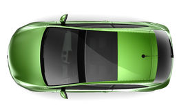 3-Door Hatchback - top view. Isolated green hatchback on a white background Stock Photos