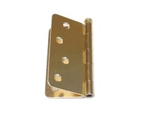 Door hinge. Closeup of gold colored door hinge on white background Royalty Free Stock Photography