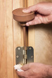 Door hinge getting oil applied. Oil can iused to lubricate a door hinge Royalty Free Stock Photos