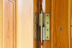 Door hinge installed Stock Photos