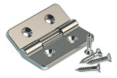 Door hinge with screws Royalty Free Stock Image
