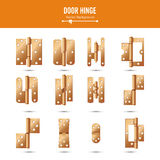 Door Hinge Vector. Set Classic And Industrial Ironmongery Isolated On White Background. Simple Entry Door Metal Hinge Stock Image