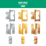 Door Hinge Vector. Set Classic And Industrial Ironmongery Isolated On White Background. Simple Entry Door Metal Hinge Stock Photos