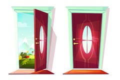 Door of house entrance vector illustration royalty free illustration