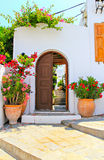 The door and house of Lindos, Rhodes, Greece Stock Images