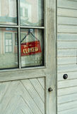 The door of house with a sign closed Stock Image