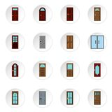 Door icons set, flat style. Door icons set. Flat illustration of 16 door icons for web Vector Illustration