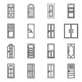 Door icons set, outline style Royalty Free Stock Photos