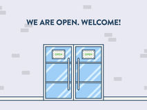Door illustration, view from outside. We are open Stock Images